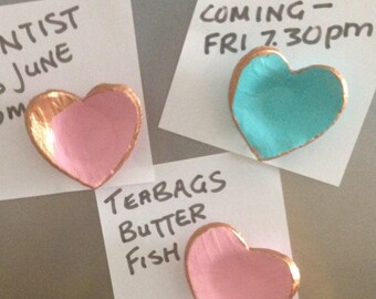 Set of 3 Clay Heart Fridge Magnets, Handmade, New Home, Housewarming Gift, Birthdays, Anniversary, Thank you, Love, Girlfriend,  Wife Gift