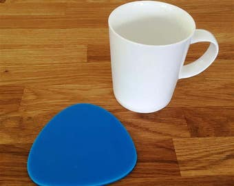 Pebble Shaped Bright Blue Gloss Finish Acrylic Coasters