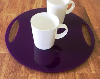 "Round Flat Serving Tray - Purple Gloss Finish Acrylic, 3mm Thick 32cm, 12.5"" Diameter"