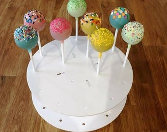 "Round White Gloss Acrylic Cake Pop Stands - 21cm 8"" Diameter (16 cakepops) or 30cm 12"" Diameter (32 cakepops)"