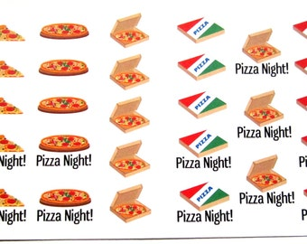Pizza Planner Stickers, Pizza Night, Takeout, Food, Pizza Slice, Matte Removable