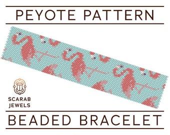 Flamingos Pattern | Peyote Beading Bracelet | Cuff Bead Pattern | Miyuki Delica | PDF Instant Download