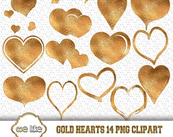 Digital Valentine's Day -Digital Gold Hearts Clip Art -INSTANT DOWNLOAD- 14 Individual Png - for Personal or Commercial Use  - 300 DPI