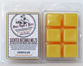 Leather & Lace Beeswax Melts | 3 oz. | Natural | Melt-Warmers | Wax Melts | Scented