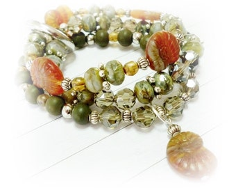 Bracelet, Czech glass beads