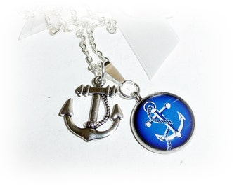 Chain, anchor, blue