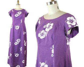 1970s Hawaiian Purple Maxi Dress / 90s Vintage Tropical Tiki Dress