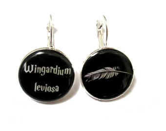HARRY POTTER earrings - Harry Potter Jewelry - black - white - Wingardium Leviosa - dangle earrings HP - Harry Potter Party - for potterhead
