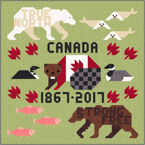O, Canada 150 Quilt Pattern, PDF, Instant Download, forest animal, bear, polar, seal, fish, goose, woodland, salmon, sesquicentennial
