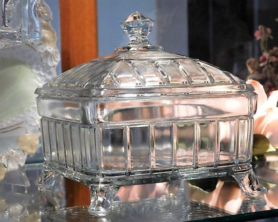 EAPG Victorian 1800s Covered Butter Dish Honey Dish Higbee Antique Square Footed Glass Dish Lid Wedding Gift Cottage Home Decor Centerpiece