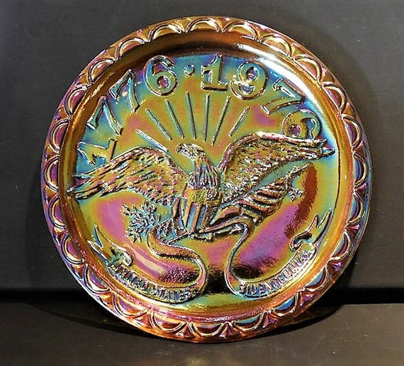 Bicentennial Plate 1976 Carnival Glass Commemorative Memorial Souvenir Plate Eagle Flag Fourth of July United States USA Indiana Glass Co