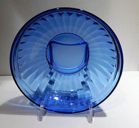 Cobalt Blue Depression Glass Bowl 1930s Art Deco AURORA Cereal Bowl Vintage Country Farm Farmhouse Kitchen Decor