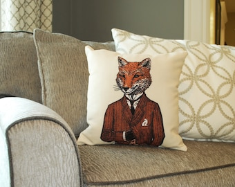 Fox Pillow - Fox Art - Animal Pillow - Home Decor  - Kids Pillow - Fox Decor