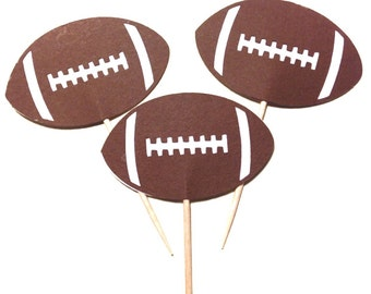 24 - Football - Cupcake Toppers - Die Cut - Select a Color - Birthday Party - Sports theme - Touchdown - Team Sport