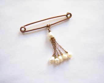 Antique 9CT gold pearl brooch, solid 9CT gold, Victorian brooch, Victorian gold pin, gold safety pin, 9CT gold safety pin