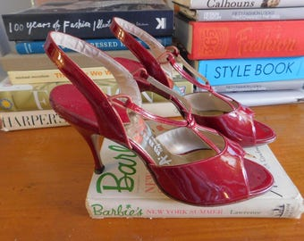 1950s red high heel sandals | 50's mid century glamour VLV