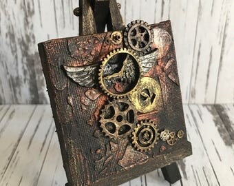 Steampunk Vintage Winged Clock and Cogs Mixed Media miniature canvas