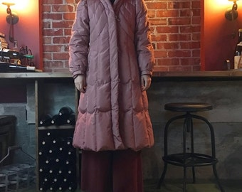 70s Dusty Rose Full Length Puffy Coat