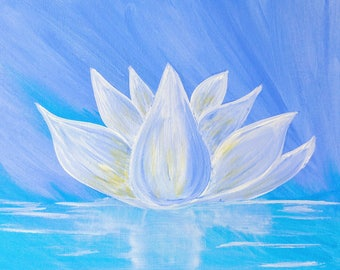 acrylic white lotus acrylic painting