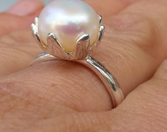 Large Pearl Silver Ring ,Bridal Pearl Ring ,Sterling Silver 925 Ring ,White Pearl Silver Ring ,Handmade Pearl Ring ,Wedding Pearl Jewelry