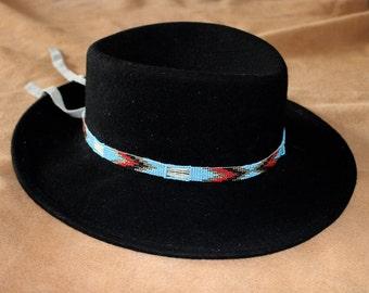 Vintage beaded hat band//southwestern hat band