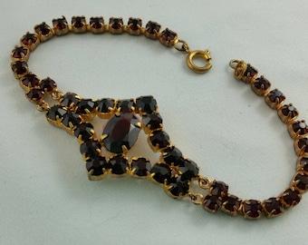 1960s Bohemian Costume Jewelry Paste Garnet  and Gold Tone Bracelet Czech Costume Jewellery