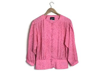 80s pink blouse top / fitted button up blouse with a plepum waist / pink embossed blouse / 80s electro / disco / retro pink blouse Uk 10
