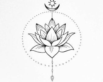 Giclee spiritual art print. The Lotus flower. Peace and harmony illustration.
