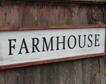 Farmhouse sign. Vintage farmhouse painted sign, farmhouse style sign, framed sign,
