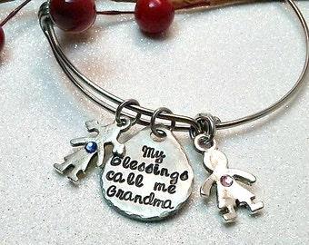 My Blessings Call Me Grandma- Mom-Stamped Bracelet- Grandma gift- Ready to ship- Christmas Gift