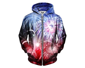 Fourth of July Fireworks Zipup Hoodie - America Independence Day Holiday Clothing - Concert Lights