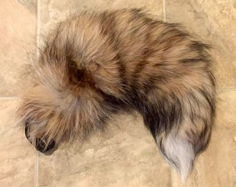 "LARGE 21"" Red Rust and Black Fox Fur Tail"