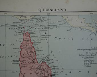 Queensland antique map of Australia - 1886 original old print QLD - detailed vintage maps Brisbane Rockhampton Gold Sunshine coast - 8x11""