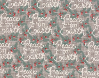 "Moda Winterberry Stone Gray ""Peace on Earth"" Print Fabric 13141-15 BTY"