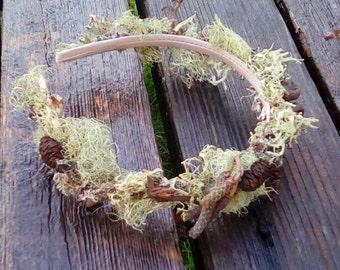 Wild Fairy Woodland Crown, Forest Crown of Natural Lichen, Twigs, Alder Cones, and Acorns, Wood Elf Headpiece, Forest Wedding Headband