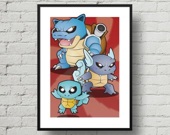 Pokemon, Squirtle, Wartortle, Blastoise, Digital Illustration, Print, Art Poster, Comic, Home Wall Art Decor, Birthday Gift, For Kids