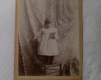 Antique Cabinet Card / Very Young Child Standing on Chair / Shouldis Photographer, Lake Mills Wisconsin