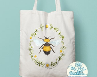 Bumble Bee Tote Bag - Shopping Bag, Cotton Tote, Long-handled tote bag