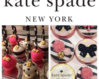 KATE SPADE Inspired Collection  - 12 Black/White/Fuchsia cake pops  --PLUS-- 12 chocolate covered Oreo cookies featuring
