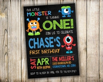 Kid's Birthday Party Invitation - Our Little Monster - Printable and Customizable - You Print - DIY Digital File