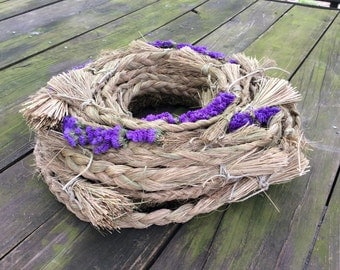 Dried flower wreath , green,blue, grass braided
