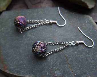 Oil Slick Holographic Rainbow Grunge Dangle Earrings