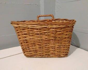SALE, Basket, Wicker, Rectangle, Hanging, Kitchen Decor, Craftroom Decor, Vintage