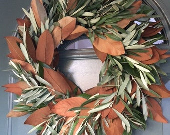 "Olive & Magnolia Wreath- 20"""