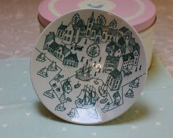 Modern Danish Nymolle Hoyrup Art Faience 4006 Plate With Town Print