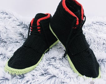 Men's slippers Nike Air Yeezy 2 Knitted shoes Slippers Crochet slippers Men's Slippers Sneakers slippers Shoes