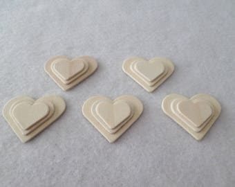 "5 3-D wood hearts, unfinished, 2"" x 1 3/8"", for wood crafts, wood shapes, unfinished wood"