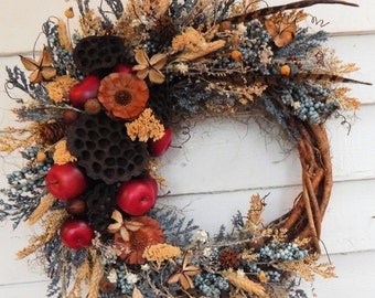 Front Door Wreath,Year Round Wreath,Rustic Wreath,Spring Wreath,Woodland Wreath, Apple Wreath