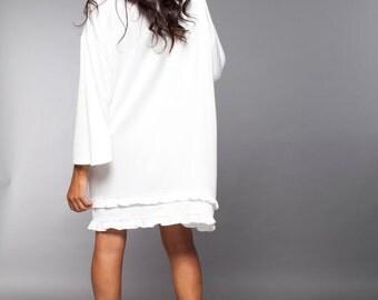 White Dress, White Maternity Dress, Bridesmaid Dress, Knee Length Dress, Hemp Dress, Midi Dress, Trapeze Dress, Bat Dress, Womens Dresses