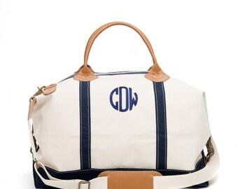 Canvas Monogrammed Travel Duffle Weekend Bag